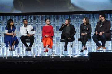 ORLANDO, FL - APRIL 14: Kelly Marie Tran, John Boyega, Daisy Ridley, Rian Johnson, Kathleen Kennedy and Josh Gad attend the STAR WARS: THE LAST JEDI PANEL during the 2017 STAR WARS CELEBRATION at Orange County Convention Center on April 14, 2017 in Orlando, Florida. (Photo by Gerardo Mora/Getty Images for Disney) *** Local Caption *** Kelly Marie Tran;John Boyega;Daisy Ridley;Rian Johnson;Kathleen Kennedy;Josh Gad