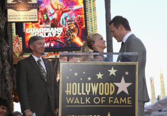 HOLLYWOOD, CA - APRIL 21: (L-R) Hollywood Chamber of Commerce, President/CEO Leron Gubler, actors Anna Faris and Chris Pratt at the Chris Pratt Walk Of Fame Star Ceremony on April 21, 2017 in Hollywood, California. (Photo by Jesse Grant/Getty Images for Disney) *** Local Caption *** Leron Gubler; Anna Faris; Chris Pratt