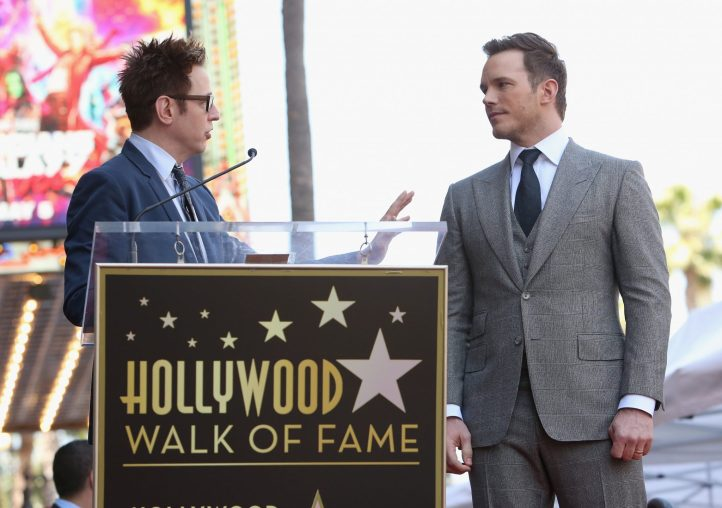 HOLLYWOOD, CA - APRIL 21: Writer/director James Gunn (L) and actor Chris Pratt at the Chris Pratt Walk Of Fame Star Ceremony on April 21, 2017 in Hollywood, California. (Photo by Jesse Grant/Getty Images for Disney) *** Local Caption *** James Gunn; Chris Pratt