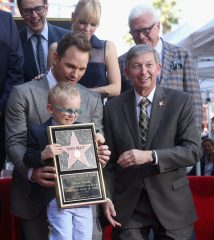 HOLLYWOOD, CA - APRIL 21: Writer/director James Gunn (top L) and actor Anna Faris (L-R bottom) Jack Pratt, actor Chris Pratt and Hollywood Chamber of Commerce, President/CEO Leron Gubler at the Chris Pratt Walk Of Fame Star Ceremony on April 21, 2017 in Hollywood, California. (Photo by Jesse Grant/Getty Images for Disney) *** Local Caption *** James Gunn; Anna Faris; Jack Pratt; Chris Pratt; Leron Gubler