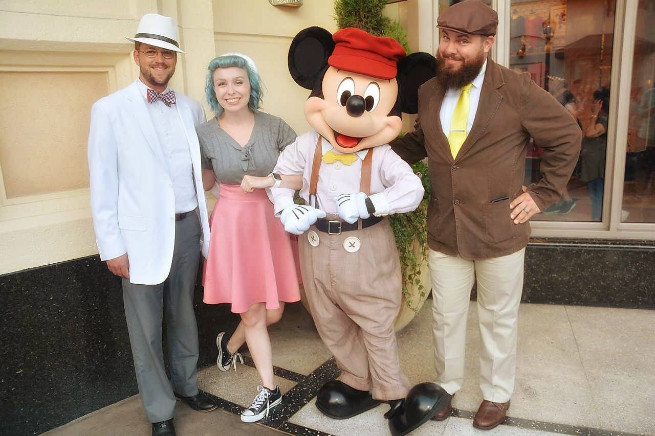 Geeks Corner Crew With Mickey Mouse on Dapper Day at Disneyland