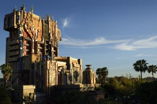 """Guardians of the Galaxy–Mission: BREAKOUT! (April 20, 2017) — The glimmering exterior of The Collector's imposing Fortress looms over the skyline at Disney California Adventure Park. The all-new attraction Guardians of the Galaxy–Mission: BREAKOUT! debuts May 27, 2017 at Disney California Adventure. Guardians of the Galaxy–Mission: BREAKOUT! will take guests through the fortress of The Collector, who is keeping his newest acquisitions, the Guardians of the Galaxy, as prisoners. Guests will board a gantry lift which launches them into a daring adventure as they join Rocket in an attempt to set free his fellow Guardians. The epic new adventure blasts guests straight into the """"Guardians of the Galaxy"""" story for the first time, alongside characters from the blockbuster films and comics. As guests join Rocket in his attempt to bust his pals out of The Collector's Fortress, they will experience randomized ride experiences complete with new visual and audio effects and music inspired by the popular film soundtracks. (Richard Harbaugh/Disneyland Resort)"""