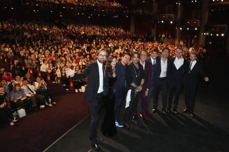 """HOLLYWOOD, CA - MAY 18: (L-R) Director Joachim Ronning, actors Kaya Scodelario, Orlando Bloom, Johnny Depp, Geoffrey Rush, Brenton Thwaites, Javier Bardem, Director Espen Sandberg and Producer Jerry Bruckheimer at the Premiere of Disney's and Jerry Bruckheimer Films' """"Pirates of the Caribbean: Dead Men Tell No Tales,"""" at the Dolby Theatre in Hollywood, CA with Johnny Depp as the one-and-only Captain Jack in a rollicking new tale of the high seas infused with the elements of fantasy, humor and action that have resulted in an international phenomenon for the past 13 years. May 18, 2017 in Hollywood, California. (Photo by Rich Polk/Getty Images for Disney) *** Local Caption *** Joachim Ronning; Kaya Scodelario; Orlando Bloom; Johnny Depp; Geoffrey Rush; Brenton Thwaites; Javier Bardem; Espen Sandberg; Jerry Bruckheimer"""