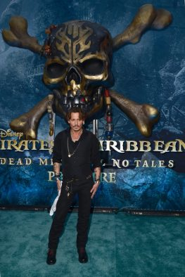 "HOLLYWOOD, CA - MAY 18: Actor Johnny Depp at the Premiere of Disney's and Jerry Bruckheimer Films' ""Pirates of the Caribbean: Dead Men Tell No Tales,"" at the Dolby Theatre in Hollywood, CA with Johnny Depp as the one-and-only Captain Jack in a rollicking new tale of the high seas infused with the elements of fantasy, humor and action that have resulted in an international phenomenon for the past 13 years. May 18, 2017 in Hollywood, California. (Photo by Marc Flores/Getty Images for Disney) *** Local Caption *** Johnny Depp"