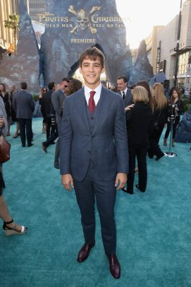 """HOLLYWOOD, CA - MAY 18: Actor Brenton Thwaites at the Premiere of Disney's and Jerry Bruckheimer Films' """"Pirates of the Caribbean: Dead Men Tell No Tales,"""" at the Dolby Theatre in Hollywood, CA with Johnny Depp as the one-and-only Captain Jack in a rollicking new tale of the high seas infused with the elements of fantasy, humor and action that have resulted in an international phenomenon for the past 13 years. May 18, 2017 in Hollywood, California. (Photo by Jesse Grant/Getty Images for Disney) *** Local Caption *** Brenton Thwaites"""