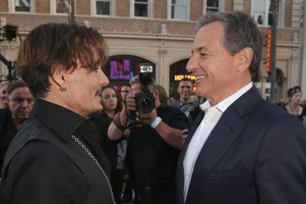 """HOLLYWOOD, CA - MAY 18: Actor Johnny Depp (L) and The Walt Disney Company Chairman and CEO Bob Iger at the Premiere of Disney's and Jerry Bruckheimer Films' """"Pirates of the Caribbean: Dead Men Tell No Tales,"""" at the Dolby Theatre in Hollywood, CA with Johnny Depp as the one-and-only Captain Jack in a rollicking new tale of the high seas infused with the elements of fantasy, humor and action that have resulted in an international phenomenon for the past 13 years. May 18, 2017 in Hollywood, California. (Photo by Jesse Grant/Getty Images for Disney) *** Local Caption *** Johnny Depp; Bob Iger"""