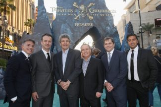 """HOLLYWOOD, CA - MAY 18: (L-R) President, Marketing, The Walt Disney Studios, Ricky Strauss, President of Walt Disney Studios Motion Picture Production, Sean Bailey, Chairman, The Walt Disney Studios, Alan Horn, Walt Disney Studios President Alan Bergman, EVP Production, The Walt Disney Company, Sam Dickerman and EVP, Marketing, The Walt Disney Studios, Asad Ayaz at the Premiere of Disney's and Jerry Bruckheimer Films' """"Pirates of the Caribbean: Dead Men Tell No Tales,"""" at the Dolby Theatre in Hollywood, CA with Johnny Depp as the one-and-only Captain Jack in a rollicking new tale of the high seas infused with the elements of fantasy, humor and action that have resulted in an international phenomenon for the past 13 years. May 18, 2017 in Hollywood, California. (Photo by Jesse Grant/Getty Images for Disney) *** Local Caption *** Ricky Strauss; Sean Bailey; Alan Horn; Alan Bergman; Sam Dickerman; Asad Ayaz"""