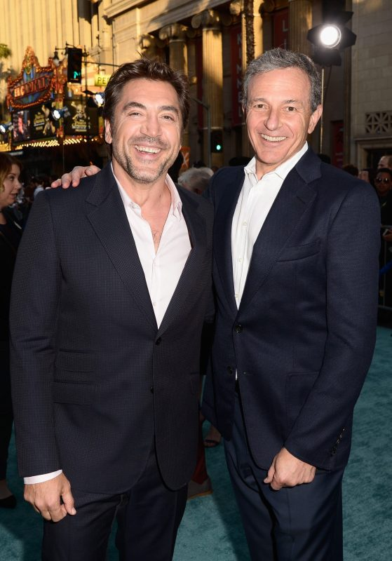 """HOLLYWOOD, CA - MAY 18: Actor Javier Bardem (L) and The Walt Disney Company Chairman and CEO Bob Iger at the Premiere of Disney's and Jerry Bruckheimer Films' """"Pirates of the Caribbean: Dead Men Tell No Tales,"""" at the Dolby Theatre in Hollywood, CA with Johnny Depp as the one-and-only Captain Jack in a rollicking new tale of the high seas infused with the elements of fantasy, humor and action that have resulted in an international phenomenon for the past 13 years. May 18, 2017 in Hollywood, California. (Photo by Marc Flores/Getty Images for Disney) *** Local Caption *** Javier Bardem; Bob Iger"""