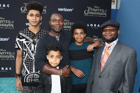 """HOLLYWOOD, CA - MAY 18: Actor David Oyelowo (2nd L) and family at the Premiere of Disney's and Jerry Bruckheimer Films' """"Pirates of the Caribbean: Dead Men Tell No Tales,"""" at the Dolby Theatre in Hollywood, CA with Johnny Depp as the one-and-only Captain Jack in a rollicking new tale of the high seas infused with the elements of fantasy, humor and action that have resulted in an international phenomenon for the past 13 years. May 18, 2017 in Hollywood, California. (Photo by Rich Polk/Getty Images for Disney) *** Local Caption *** David Oyelowo"""