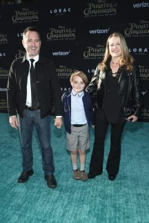 """HOLLYWOOD, CA - MAY 18: (L-R) Actor Thomas Lennon, Oliver Lennon and Jenny Robertson at the Premiere of Disney's and Jerry Bruckheimer Films' """"Pirates of the Caribbean: Dead Men Tell No Tales,"""" at the Dolby Theatre in Hollywood, CA with Johnny Depp as the one-and-only Captain Jack in a rollicking new tale of the high seas infused with the elements of fantasy, humor and action that have resulted in an international phenomenon for the past 13 years. May 18, 2017 in Hollywood, California. (Photo by Rich Polk/Getty Images for Disney) *** Local Caption *** Thomas Lennon; Oliver Lennon; Jenny Robertson"""