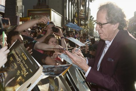 """HOLLYWOOD, CA - MAY 18: Actor Geoffrey Rush at the Premiere of Disney's and Jerry Bruckheimer Films' """"Pirates of the Caribbean: Dead Men Tell No Tales,"""" at the Dolby Theatre in Hollywood, CA with Johnny Depp as the one-and-only Captain Jack in a rollicking new tale of the high seas infused with the elements of fantasy, humor and action that have resulted in an international phenomenon for the past 13 years. May 18, 2017 in Hollywood, California. (Photo by Marc Flores/Getty Images for Disney) *** Local Caption *** Geoffrey Rush"""