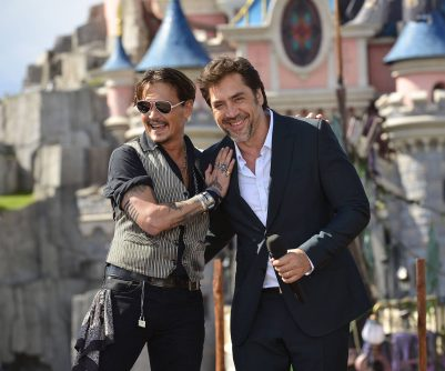 PARIS, FRANCE - MAY 14: Johnny Depp and Javier Bardem attend the European Premiere to celebrate the release of Disney's 'Pirates of the Caribbean: Salazar's Revenge' at Disneyland Paris on May 14, 2017 in Paris, France. *** Local Caption *** Johnny Depp; Javier Bardem