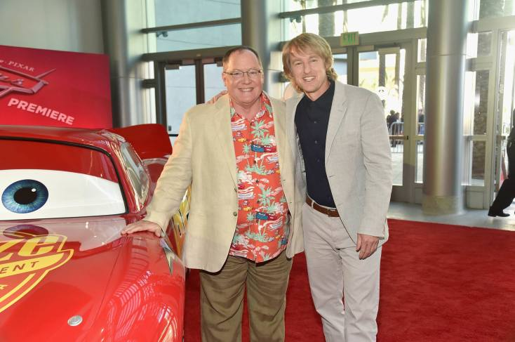 """ANAHEIM, CA - JUNE 10: Executive producer John Lasseter (L) and actor Owen Wilson pose at the World Premiere of Disney/Pixarís ìCars 3"""" at the Anaheim Convention Center on June 10, 2017 in Anaheim, California. (Photo by Alberto E. Rodriguez/Getty Images for Disney) *** Local Caption *** John Lasseter,Owen Wilson"""