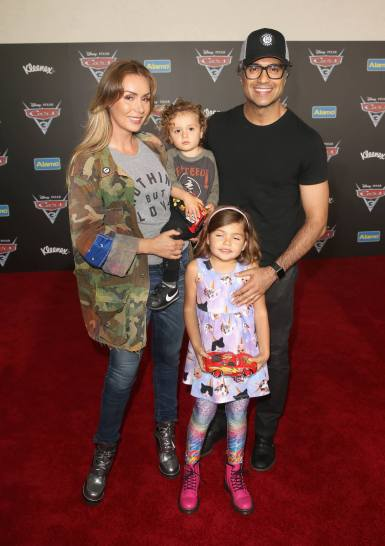 "ANAHEIM, CA - JUNE 10: (L-R) Heidi Balvanera, Jaime Camil III, Elena Camil, and actor Jaime Camil pose at the World Premiere of Disney/Pixarís ìCars 3"" at the Anaheim Convention Center on June 10, 2017 in Anaheim, California. (Photo by Jesse Grant/Getty Images for Disney) *** Local Caption *** Jaime Camil,Elena Camil,Heidi Balvanera, Jaime Camil III,"