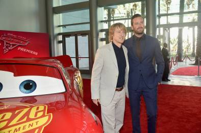 "ANAHEIM, CA - JUNE 10: Actors Owen Wilson (L) and Armie Hammer pose at the World Premiere of Disney/Pixarís ìCars 3"" at the Anaheim Convention Center on June 10, 2017 in Anaheim, California. (Photo by Alberto E. Rodriguez/Getty Images for Disney) *** Local Caption *** Owen Wilson;Armie Hammer"