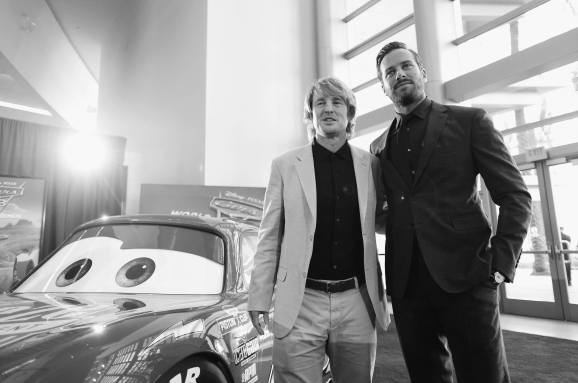 """ANAHEIM, CA - JUNE 10: (EDITORS NOTE: Image has been shot in black and white. Color version not available.) Actors Owen Wilson (L) and Armie Hammer pose at the World Premiere of Disney/Pixarís ìCars 3"""" at the Anaheim Convention Center on June 10, 2017 in Anaheim, California. (Photo by Charley Gallay/Getty Images for Disney) *** Local Caption *** Owen Wilson;Armie Hammer"""