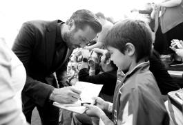 "ANAHEIM, CA - JUNE 10: (EDITORS NOTE: Image has been shot in black and white. Color version not available.) Actor Armie Hammer (L) signs autographs at the World Premiere of Disney/Pixarís ìCars 3"" at the Anaheim Convention Center on June 10, 2017 in Anaheim, California. (Photo by Charley Gallay/Getty Images for Disney) *** Local Caption *** Armie Hammer"