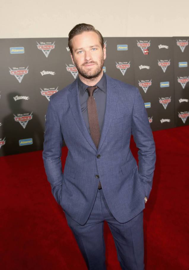 "ANAHEIM, CA - JUNE 10: Actor Armie Hammer poses at the World Premiere of Disney/Pixarís ìCars 3"" at the Anaheim Convention Center on June 10, 2017 in Anaheim, California. (Photo by Jesse Grant/Getty Images for Disney) *** Local Caption *** Armie Hammer"