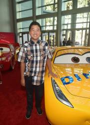"""ANAHEIM, CA - JUNE 10: Actor Hudson Yang poses at the World Premiere of Disney/Pixarís ìCars 3"""" at the Anaheim Convention Center on June 10, 2017 in Anaheim, California. (Photo by Alberto E. Rodriguez/Getty Images for Disney) *** Local Caption *** Hudson Yang"""