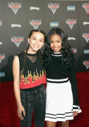 """ANAHEIM, CA - JUNE 10: Actors Sky Katz (L) and Navia Robinson at the World Premiere of Disney/Pixarís ìCars 3"""" at the Anaheim Convention Center on June 10, 2017 in Anaheim, California. (Photo by Jesse Grant/Getty Images for Disney) *** Local Caption *** Navia Robinson;Sky Katz"""