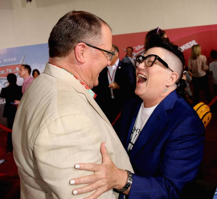 "ANAHEIM, CA - JUNE 10: Producer John Lasseter (L) and actor Lea DeLaria greet each other at the World Premiere of Disney/Pixarís ìCars 3"" at the Anaheim Convention Center on June 10, 2017 in Anaheim, California. (Photo by Jesse Grant/Getty Images for Disney) *** Local Caption *** John Lasseter;Lea DeLaria"