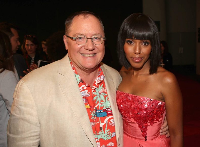 "ANAHEIM, CA - JUNE 10: Producer John Lasseter (L) and actor Kerry Washington pose at the World Premiere of Disney/Pixar's ""Cars 3"" at the Anaheim Convention Center on June 10, 2017 in Anaheim, California. (Photo by Jesse Grant/Getty Images for Disney) *** Local Caption *** John Lasseter;Kerry Washington"