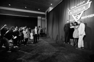 """ANAHEIM, CA - JUNE 10: (EDITORS NOTE: Image has been shot in black and white) (L-R) Actors Armie Hammer, Cristela Alonzo, Kerry Washington and Owen Wilson at the World Premiere of Disney/Pixarís ìCars 3"""" at the Anaheim Convention Center on June 10, 2017 in Anaheim, California. (Photo by Charley Gallay/Getty Images for Disney) *** Local Caption *** Armie Hammer;Cristela Alonzo;Kerry Washington;Owen Wilson"""