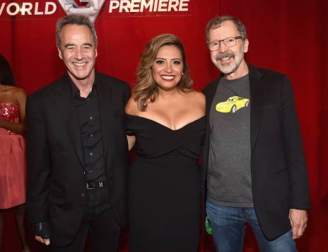 """ANAHEIM, CA - JUNE 10: (L-R) General Manager of Pixar Jim Morris, actor Cristela Alonzo and President of Pixar Edwin Catmul at the World Premiere of Disney/Pixarís ìCars 3"""" at the Anaheim Convention Center on June 10, 2017 in Anaheim, California. (Photo by Alberto E. Rodriguez/Getty Images for Disney) *** Local Caption *** Jim Morris;Cristela Alonzo;Edwin Catmul"""