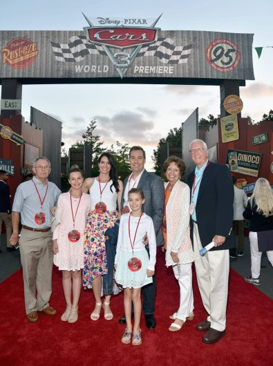ANAHEIM, CA - JUNE 10: Director Brian Fee (C) and guests pose at the after party for the World Premiere of Disney/Pixarís ìCars 3î at Cars Land at Disney California Adventure in Anaheim, CA. (Photo by Alberto E. Rodriguez/Getty Images for Disney) *** Local Caption *** Brian Fee