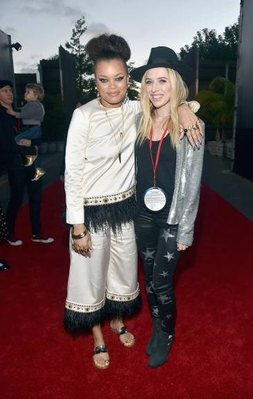 ANAHEIM, CA - JUNE 10: Recording artists Andra Day (L) and ZZ Ward pose at the after party for the World Premiere of Disney/Pixarís ìCars 3î at Cars Land at Disney California Adventure in Anaheim, CA. (Photo by Alberto E. Rodriguez/Getty Images for Disney) *** Local Caption *** Andra Day;ZZ Ward