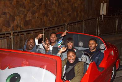 ANAHEIM, CA - JUNE 10: Actor Kerry Washington (back C) and guests pose at the after party for the World Premiere of Disney/Pixarís ìCars 3î at Cars Land at Disney California Adventure in Anaheim, CA. (Photo by Alberto E. Rodriguez/Getty Images for Disney) *** Local Caption *** Kerry Washington