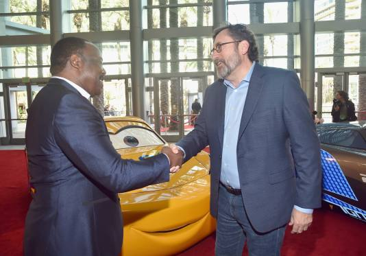 "ANAHEIM, CA - JUNE 10: Actor Isiah Whitlock Jr. and screenwriter Bob Peterson at the World Premiere of Disney/Pixarís ìCars 3"" at the Anaheim Convention Center on June 10, 2017 in Anaheim, California. (Photo by Alberto E. Rodriguez/Getty Images for Disney) *** Local Caption *** Isiah Whitlock Jr.;Bob Peterson"