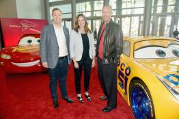 "ANAHEIM, CA - JUNE 10: (L-R) Director Brian Fee, Co-Producer Andrea Warren and Producer Kevin Reher at the World Premiere of Disney/Pixarís ìCars 3"" at the Anaheim Convention Center on June 10, 2017 in Anaheim, California. (Photo by Alberto E. Rodriguez/Getty Images for Disney) *** Local Caption *** Brian Fee;Andrea Warren;Kevin Reher"