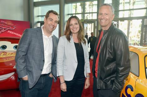 """ANAHEIM, CA - JUNE 10: (L-R) Director Brian Fee, Co-Producer Andrea Warren and Producer Kevin Reher at the World Premiere of Disney/Pixarís ìCars 3"""" at the Anaheim Convention Center on June 10, 2017 in Anaheim, California. (Photo by Alberto E. Rodriguez/Getty Images for Disney) *** Local Caption *** Brian Fee;Andrea Warren;Kevin Reher"""