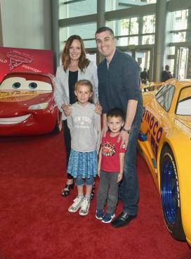 "ANAHEIM, CA - JUNE 10: Co-Producer Andrea Warren (L) and family at the World Premiere of Disney/Pixarís ìCars 3"" at the Anaheim Convention Center on June 10, 2017 in Anaheim, California. (Photo by Alberto E. Rodriguez/Getty Images for Disney) *** Local Caption *** Andrea Warren"