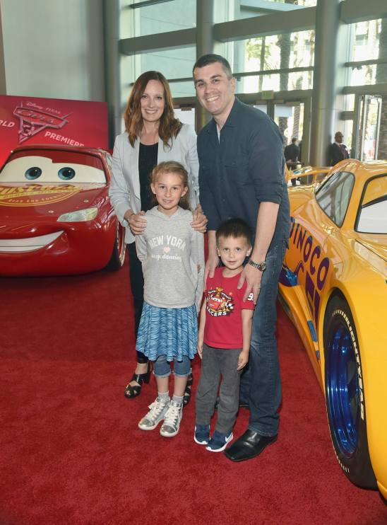 """ANAHEIM, CA - JUNE 10: Co-Producer Andrea Warren (L) and family at the World Premiere of Disney/Pixarís ìCars 3"""" at the Anaheim Convention Center on June 10, 2017 in Anaheim, California. (Photo by Alberto E. Rodriguez/Getty Images for Disney) *** Local Caption *** Andrea Warren"""