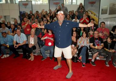 "ANAHEIM, CA - JUNE 10: Actor Larry the Cable Guy (C) poses with fans at the World Premiere of Disney/Pixarís ìCars 3"" at the Anaheim Convention Center on June 10, 2017 in Anaheim, California. (Photo by Jesse Grant/Getty Images for Disney) *** Local Caption *** Larry the Cable Guy;Daniel Lawrence Whitney"