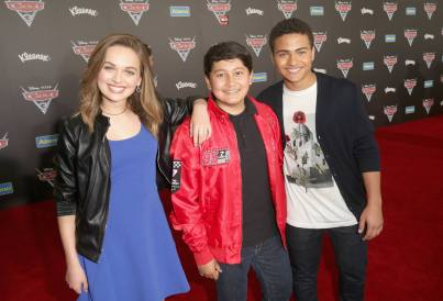 "ANAHEIM, CA - JUNE 10: (L-R) Actors Alyssa Jirrels, ___ and ___ at the World Premiere of Disney/Pixarís ìCars 3"" at the Anaheim Convention Center on June 10, 2017 in Anaheim, California. (Photo by Jesse Grant/Getty Images for Disney) *** Local Caption *** Alyssa Jirrels"