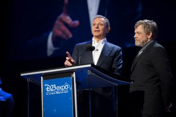 D23 EXPO 2017 - Friday, July 14, 2017 - The Ultimate Disney Fan Event - brings together all the worlds of Disney under one roof for three packed days of presentations, pavilions, experiences, concerts, sneak peeks, shopping, and more. The event, which takes place July 14-16 at the Anaheim Convention Center, provides fans with unprecedented access to Disney films, television, games, theme parks, and celebrities. (Disney/Image Group LA) ROBERT A. IGER (CHAIRMAN AND CHIEF EXECUTIVE OFFICER, THE WALT DISNEY COMPANY), MARK HAMILL