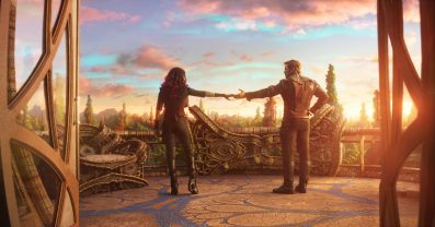 Guardians Of The Galaxy Vol. 2..L to R: Gamora (Zoe Saldana) and Star-Lord/Peter Quill (Chris Pratt)..Ph: Film Frame..©Marvel Studios 2017