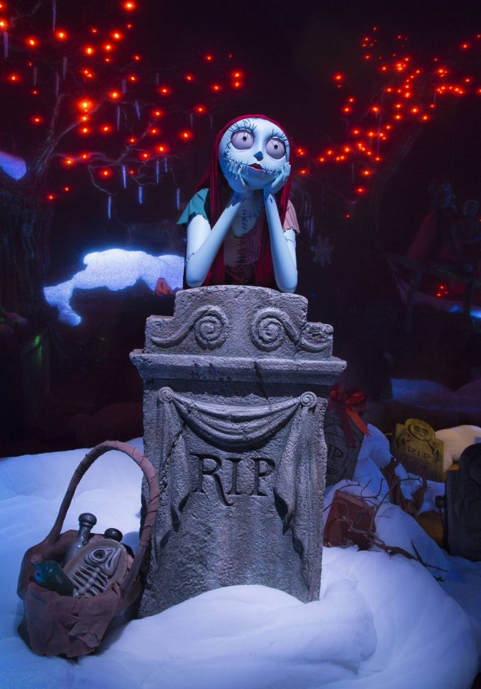 """HALLOWEEN TIME AT THE DISNEYLAND RESORT (ANAHEIM, Calif.) – Haunted Mansion Holiday brings the frightfully fun cheer of """"Tim Burton's Nightmare Before Christmas"""" to the Disneyland Resort. Halloween Time at the Disneyland Resort returns from Sept. 15 through Oct. 31, 2017 with spooky seasonal décor, themed food and beverage offerings and attractions that get a seasonal overlay for Halloween. New in 2017, guests will be able to celebrate with their favorite Radiator Springs residents in Cars Land, which is getting decked out for Haul-O-Ween. (Paul Hiffmeyer/Disneyland)"""