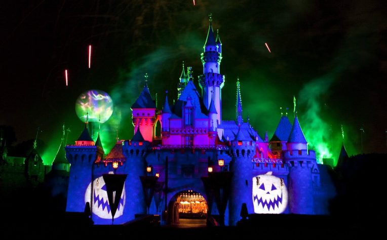 "MICKEY'S HALLOWEEN PARTY (ANAHEIM, Calif.) – Jack Skellington presides over the ""Halloween Screams"" fireworks spectacular, which lights up the night sky surrounding Sleeping Beauty Castle at Disneyland park as part of the entertainment exclusive to the annual Mickey's Halloween Party. Returning for 14 nights in 2017, beginning Wednesday, Sept. 20, Mickey's Halloween Party is a time for guests to dress up for a ghoulish good time and enjoy seasonal scares such as Space Mountain Ghost Galaxy and Haunted Mansion Holiday. (Paul Hiffmeyer/Disneyland)"
