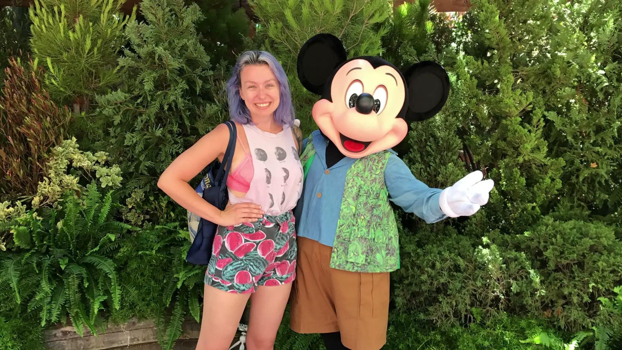 Caitie Bear and Talking Mickey in Disney California Adventure