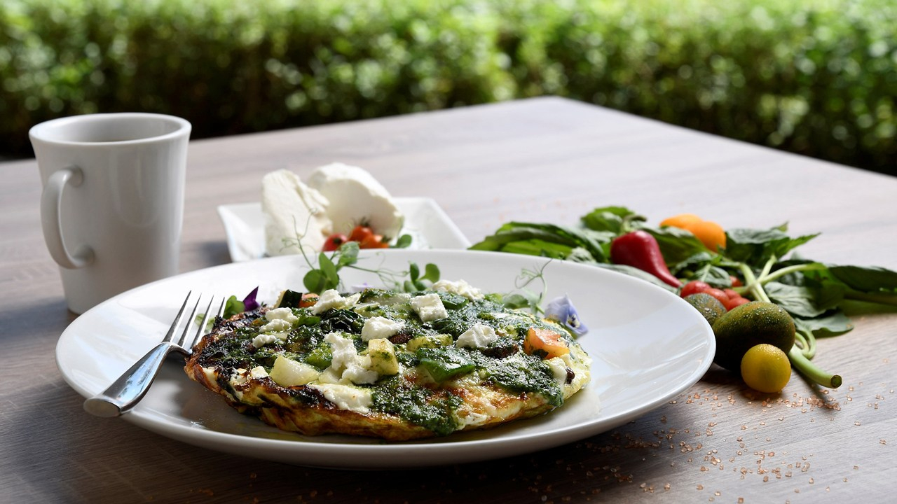 Egg White Vegetable Frittata with Macadamia Nut Pesto