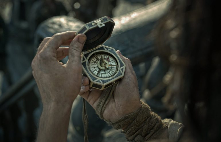 """PIRATES OF THE CARIBBEAN: DEAD MEN TELL NO TALES""..The villainous Captain Salazar (Javier Bardem) pursues Jack Sparrow (Johnny Depp) as he searches for the trident used by Poseidon..Ph: Film Frame..© Disney Enterprises, Inc. All Rights Reserved."