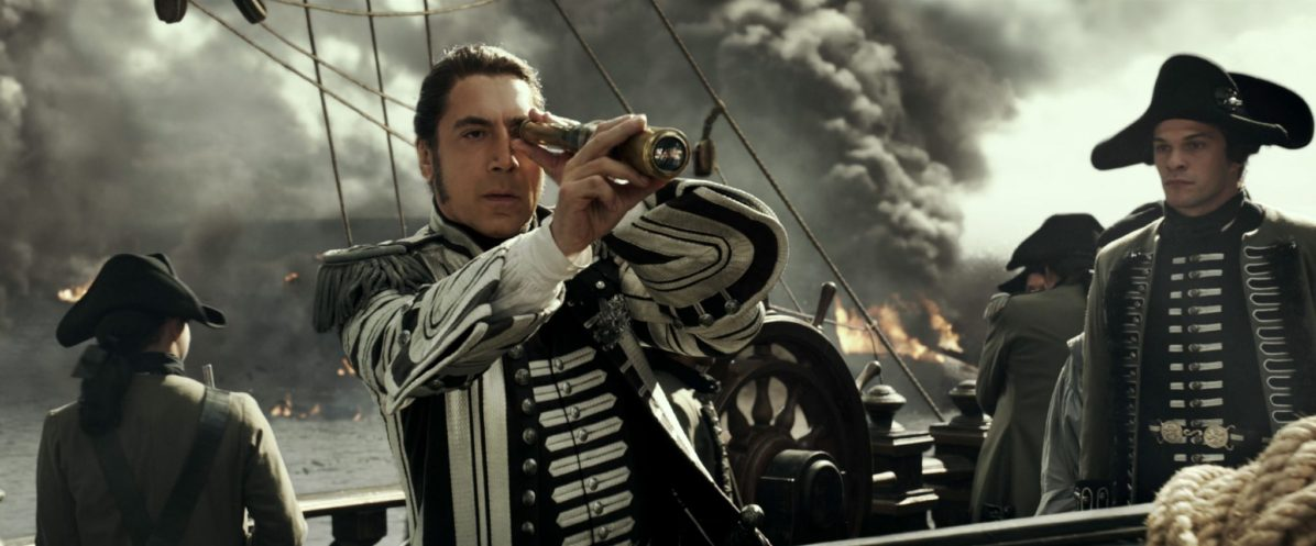 """PIRATES OF THE CARIBBEAN: DEAD MEN TELL NO TALES""..The villainous Captain Salazar (Javier Bardem) pursues Jack Sparrow (Johnny Depp) as he searches for the trident used by Poseidon..Pictured: Captain Salazar (Javier Bardem)..Ph: Film Frame..© Disney Enterprises, Inc. All Rights Reserved."