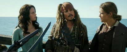 """PIRATES OF THE CARIBBEAN: DEAD MEN TELL NO TALES""..The villainous Captain Salazar (Javier Bardem) pursues Jack Sparrow (Johnny Depp) as he searches for the trident used by Poseidon..Pictured L to R: Carina Smyth (Kaya Scodelario), Captain Jack Sparrow (Johnny Depp) and Henry Turner (Brenton Thwaites)..Ph: Film Frame..© Disney Enterprises, Inc. All Rights Reserved."