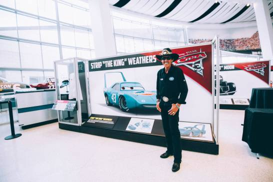 "CHARLOTTE, NC - SEPTEMBER 28: Cars 3 voice of ""The King""/NASCAR Retired Driver Richard ""The King"" Petty"