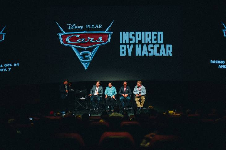 CHARLOTTE, NC - SEPTEMBER 28: (L-R) NASCAR 2018 Hall of Fame Inductee Ray Evernham, Director Brian Fee, Creative Director Jay Ward and NASCAR Hall of Fame Historian Buz McKim