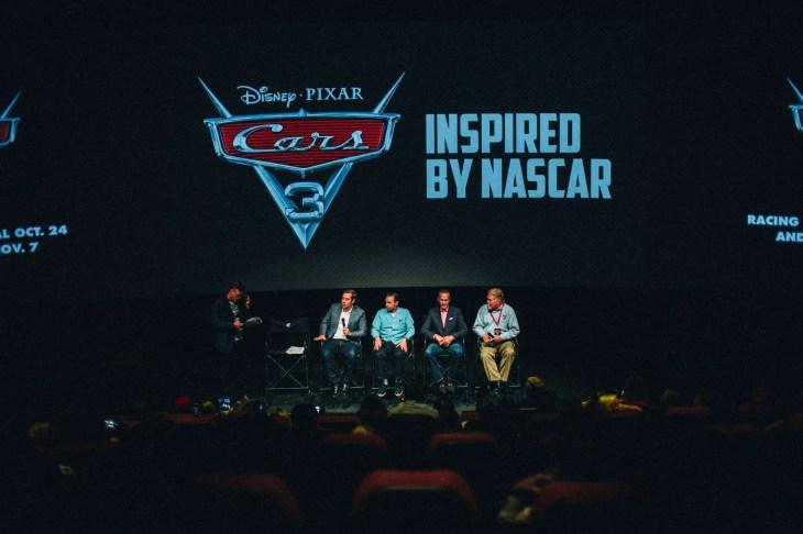 CHARLOTTE, NC - SEPTEMBER 28: (L-R) NASCAR 2018 Hall of Fame Inductee Ray Evernham, Director Brian Fee, Creative Director Jay Ward and NASCAR Hall of Fame Historian Buz McKim